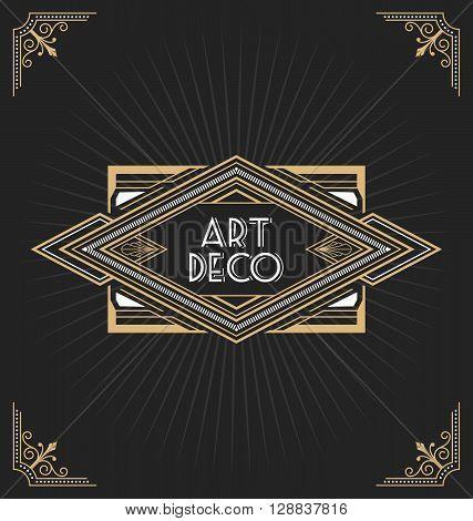 Art deco frame design for your design such as invitation print banner. Vector illustration