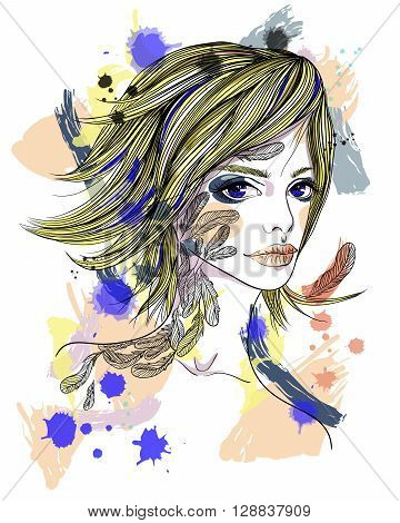 Portrait of a girl with a tattoo. The girl-bird on abstract background. Fashion illustration. Print for T-shirt
