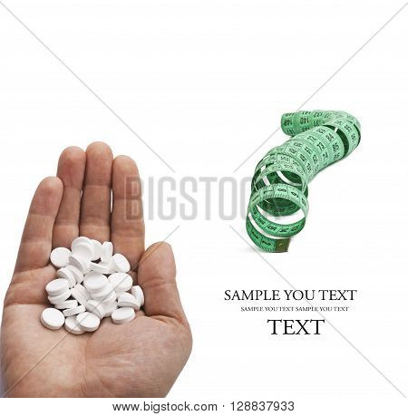Measure tape with pills on a white background.