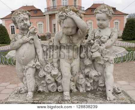 White sculpture near Zolochiv castle. Ukraine. Europe