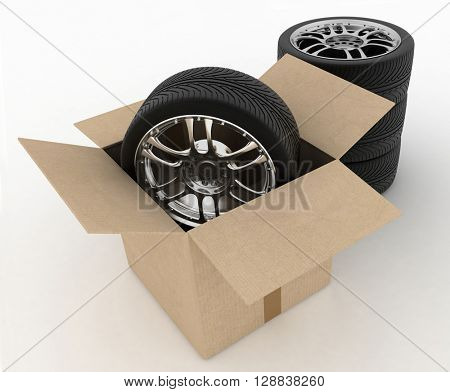 Open Cardboard Box with Tires on white background. 3d render.