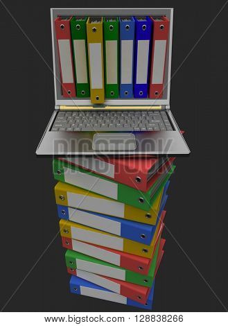Colorful folders next to a modern laptop on a black background. 3d render.