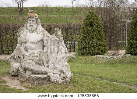 Ancient sculpture Zolochiv castle. Western Ukraine. Europe