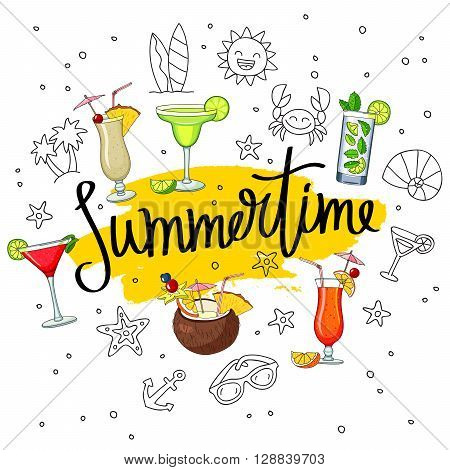 Inscription Summer in surroundings of various cocktails and summer icons. Fashionable calligraphy on a smear of yellow ink. Pina colada tequila sunrise margarita mojito coconut cosmopolitan. Vector illustration on white background.