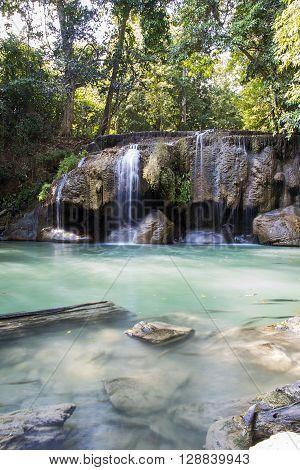 Detail of the Erawan waterfalls in Thailand