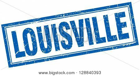 Louisville blue square grunge stamp on white