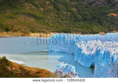 Los Glaciares National Park in Argentina. Colossal Perito Moreno glacier in Lake Argentino. Sunny summer day
