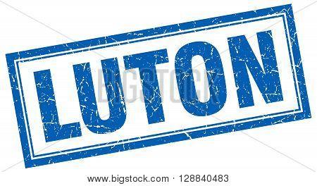 Luton blue square grunge stamp on white