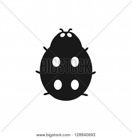 Insect ladybird isolated on white background. Ladybug small insect with a mottled pattern on wings, black logo icon on white. Ladybird sign drawing in flat design. Vector illustration