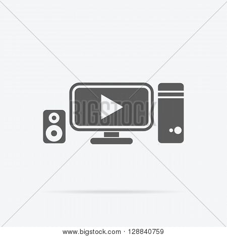 Video promotion manochrome black icon flat design. Data statistics of the video promotion. Computer monitor with play icon of a video on the screen. Vector illustration