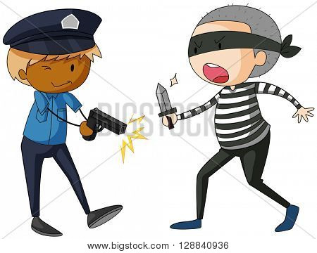 Policeman with gun and robber with knife illustration