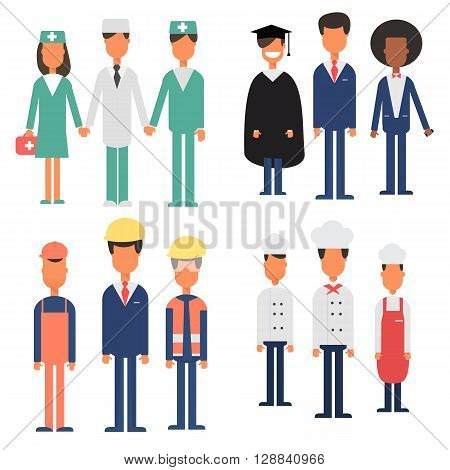 People Group Different Occupation Set, International Labor Day Flat Vector Illustration. People wearing suits, dresses. uniform summit or conference