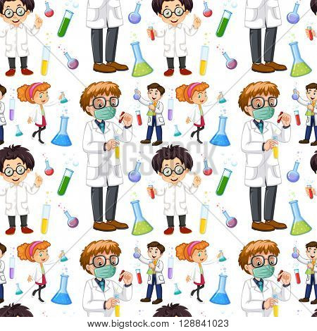 Seamless male and female scientists illustration