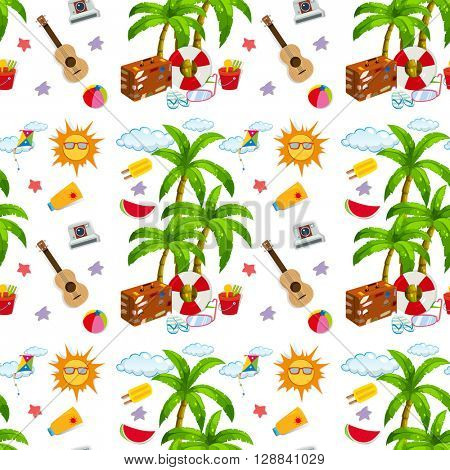 Seamless summer objects and coconut tree illustration