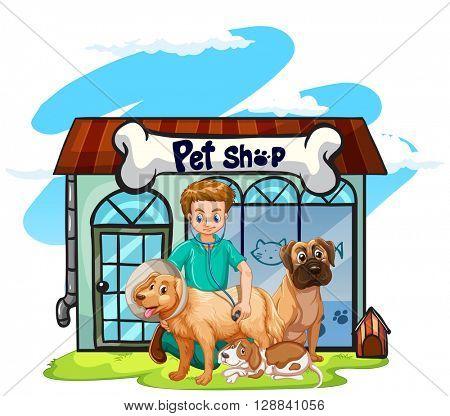 Vet checking up the dogs  illustration