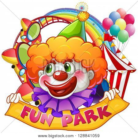 Jester with fun park sign illustration