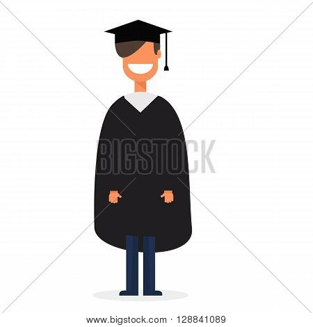 Student with graduation cap or hat in flat stule