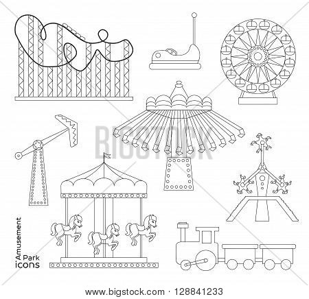 Amusement park or funfair attraction icons. Vector illustration, EPS 10