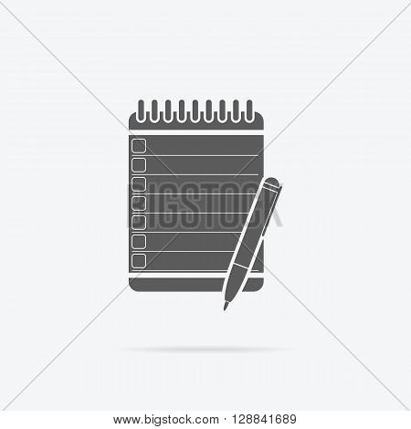 Notebook black icon design flat isolated. Note paper with pen, book and paper modern notebook business, blank page, spiral binder notebook vector illustration
