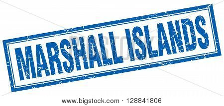 Marshall Islands blue square grunge stamp on white