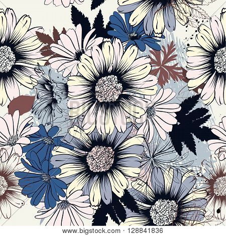 Seamless pattern with hand drawn flowers in blue color ideal for fabric patterns design