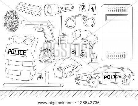 Policeman, police department, police uniforms, police car. Police. Safety concept. Vector set