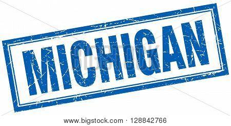 Michigan blue square grunge stamp on white