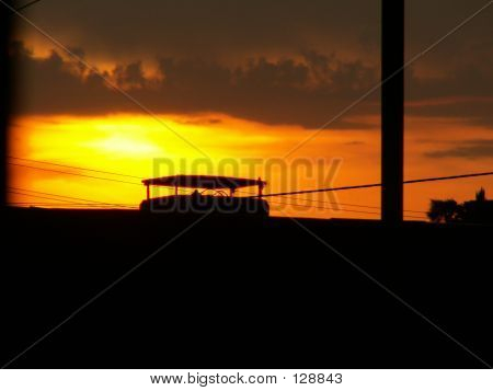 Fiery Sunset In Suburbia