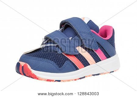 Varna Bulgaria - APRIL 5 2016 : ADIDAS SNICE 4 CF children shoe. Isolated on white. Product shot. Adidas is a German multinational corporation that designs and manufactures sports shoes clothing and accessories