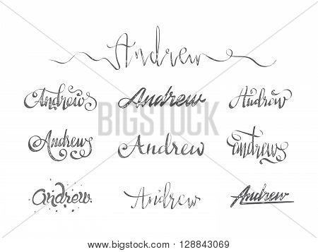 Personal name Andrew. Vector grunge calligraphy set. Handmade lettering collection