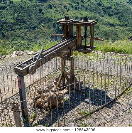 Ancient wooden catapult reconstruction of a Roman ballista in the Gamla Nature Reserve Israel