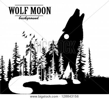 Howling wolf double exposure illustration with moon and forest background