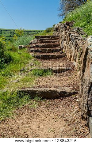 Ancient stone stairs the ruins of the ancient city of Gamla in the Gamla Nature Reserve Israel