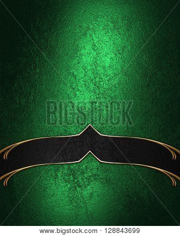 Grunge Green Texture With Black Ribbon. Template For Design. Copy Space For Ad Brochure Or Announcem