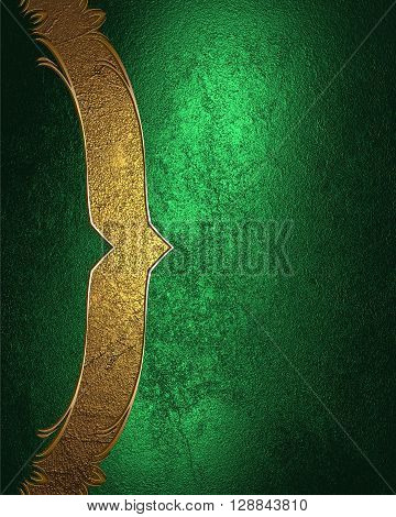 Grunge Green Texture With Gold Ribbon. Template For Design. Copy Space For Ad Brochure Or Announceme