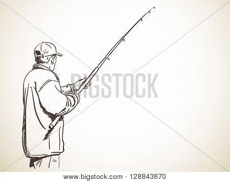 Sketch of fishing man, Hand drawn illustration