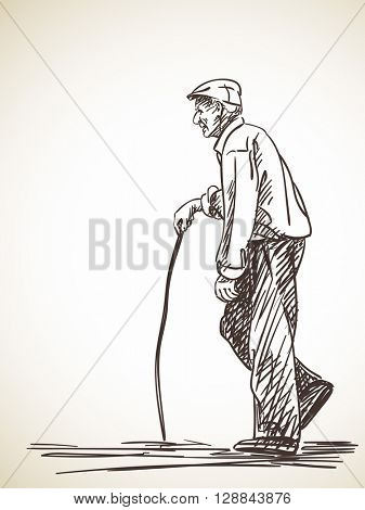 Sketch of old man walking with stick Hand drawn illustration
