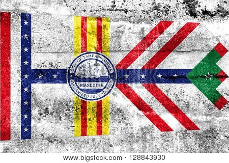Flag Of Tampa, Florida, Painted On Dirty Wall. Vintage And Old Look.