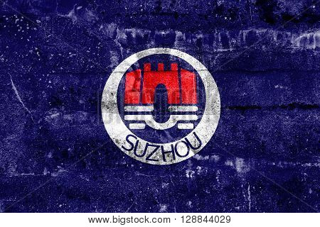 Flag Of Suzhou, China, Painted On Dirty Wall. Vintage And Old Look.