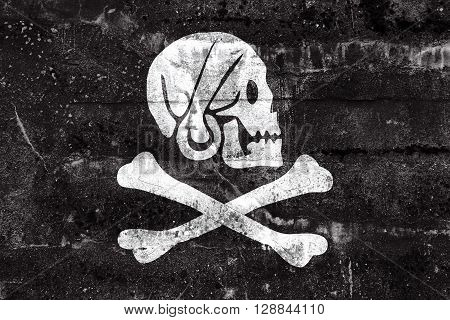 Henry Every Pirate Flag, Painted On Dirty Wall. Vintage And Old Look.