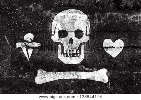 Stede Bonnet Pirate Flag, Painted On Dirty Wall. Vintage And Old Look.