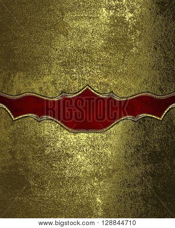 Grunge Gold Background With A Red Pattern. Template For Design. Copy Space For Ad Brochure Or Announ