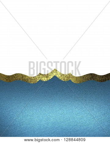 Blue Pattern Isolated On White Background With A Gold Border. Template For Design. Copy Space For Ad