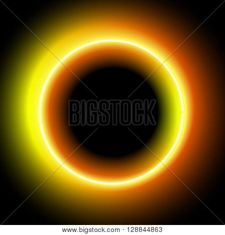Neon circle. Neon Orange light. Vector electric frame. Vintage frame. Retro neon lamp. Space for text. Glowing neon background. Abstract electric background. Neon sign circle. Glowing electric circle.