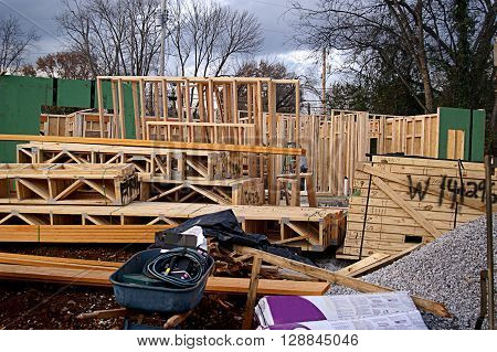 Construction under way for a prefab house