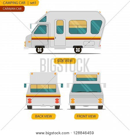 Car set for camping caravan with three views in the style of cartoon and flat isolated on white background