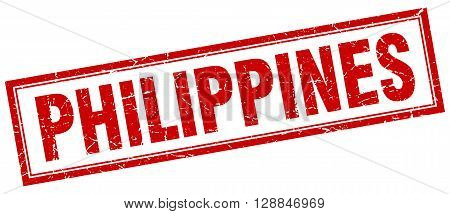 Philippines red square grunge stamp on white