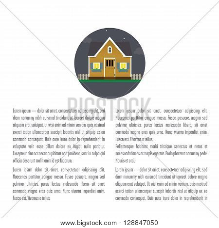 Layout with a house. Holiday house at the top of the layout. Space for the title and text.