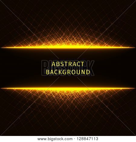 Abstract lights gold strips on dark background