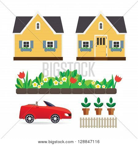 Small house with a flower garden machine interface a fence and potted plants. Illustration with cute yellow house. Vector house.